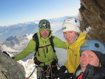 Flatlanders Tatu, Sami and Ode on the top of Slovenian route on the North face of Grandes Jorasses