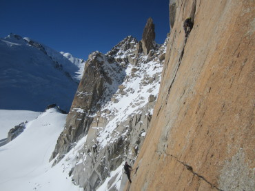 Sami Modenius and Sami Haapasalmi on the South face of Aiguille du Midi