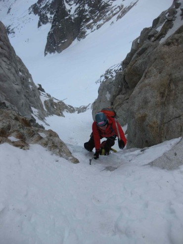 Tatu Autio soloing on the North face of Col du Plan, Chamonix, France