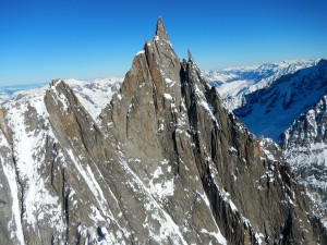 Aiguille du Grepon in the winter, photographed from under a paraglider
