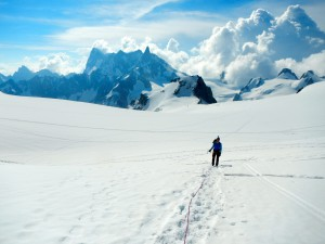 Walking on the glacier with Jouni