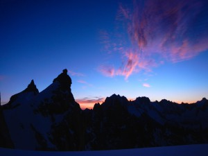 Sun rising on Aiguille du Plan