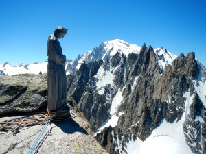 The summit with madonna, Mont Blanc in the background